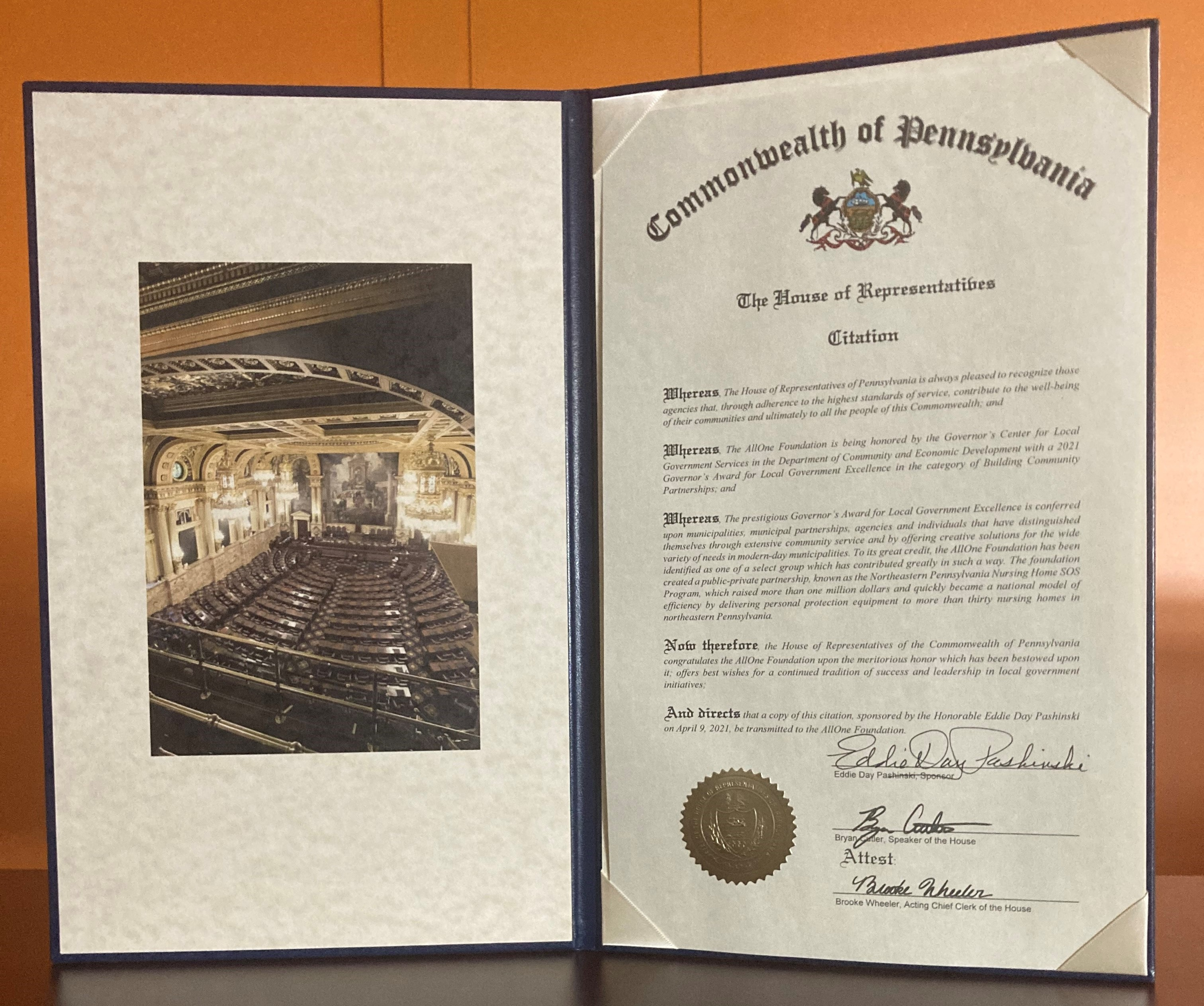 AllOne Receives Governor's Award of Excellence